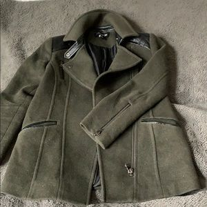 Army Green Jacket with Leather Details